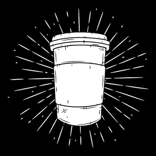 Кофейная чашка. рисованная иллюстрация Premium векторы