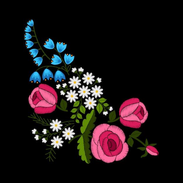 刺繍春の花と黒い背景にバラ。 Premiumベクター