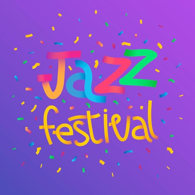 Векторное цветное изображение текста джазового фестиваля с конфетти на темном фоне Premium векторы