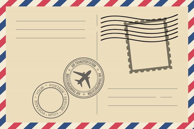 切手とビンテージ航空便封筒 Premiumベクター