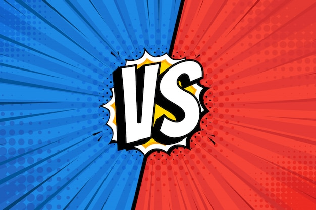 画面と比較して。コミックの背景同士の戦い、赤と紺の戦い。図。 Premiumベクター