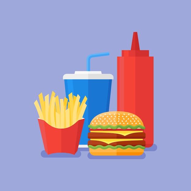 ファストフード。ハンバーガー、フライドポテト、ソーダテイクアウト、青の背景にケチャップ。フラットスタイル Premiumベクター