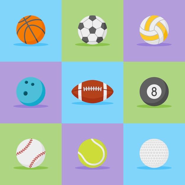 Набор спортивных мячей плоский стиль иконок. Premium векторы