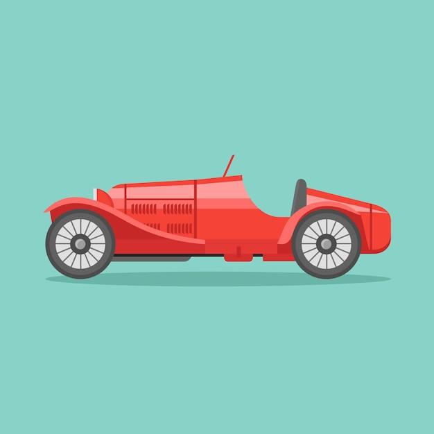 Иллюстрация значка стиля ретро гоночной машины спорта плоская. Premium векторы