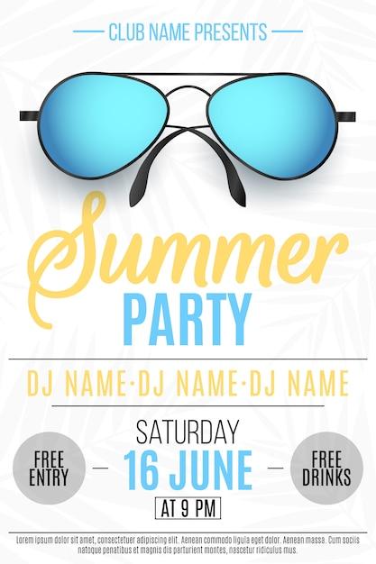 Плакат для летней вечеринки. красочные пляжные очки на белом Premium векторы