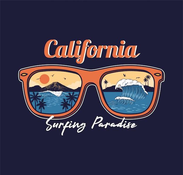 Горы калифорния захода солнца ладони взгляда пляжа моря океанской волны солнечных очков лета отражательной ладони. Premium векторы