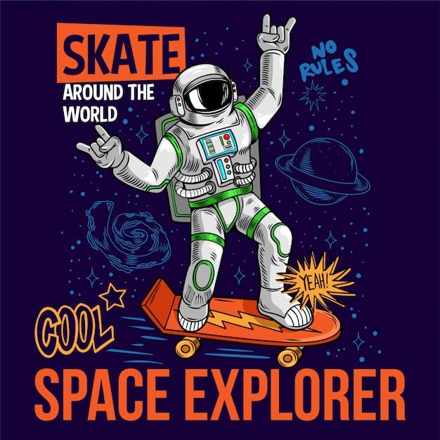 Гравюра забавного крутого чувака в скафандре-космонавте-космонавте катающегося на космическом скейтборде между звездами планет галактик. мультфильм комиксов поп-арт для печати дизайн футболки одежда плакат для детей. Premium векторы
