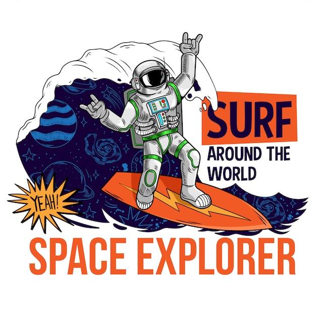 Гравюра крутого чувака в скафандре космонавта летящего из этого мира в космосе между звездами планет галактик. мультфильм комиксов поп-арт для печати дизайн футболки одежда футболка плакат для детей. Premium векторы