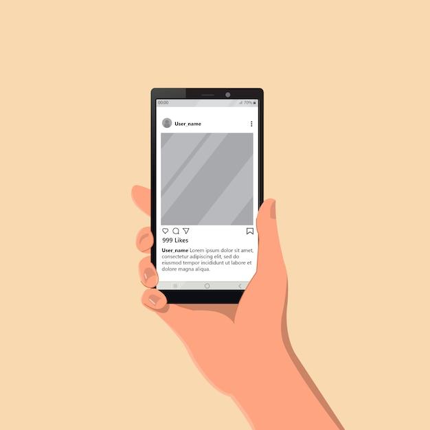 Рука смартфон показывает социальные медиа Premium векторы