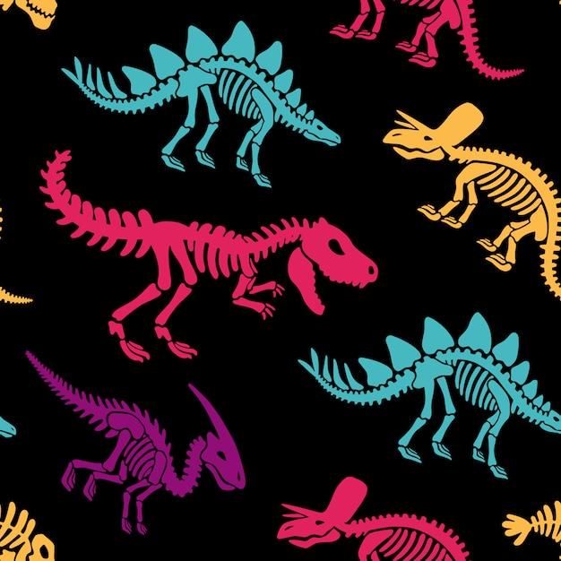 Скелеты динозавров окаменелости бесшовные модели. футболка принт, ткань, современный фон. Premium векторы