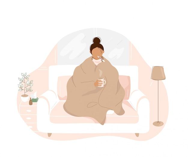 Больная женщина с гриппом, сидя на диване Premium векторы