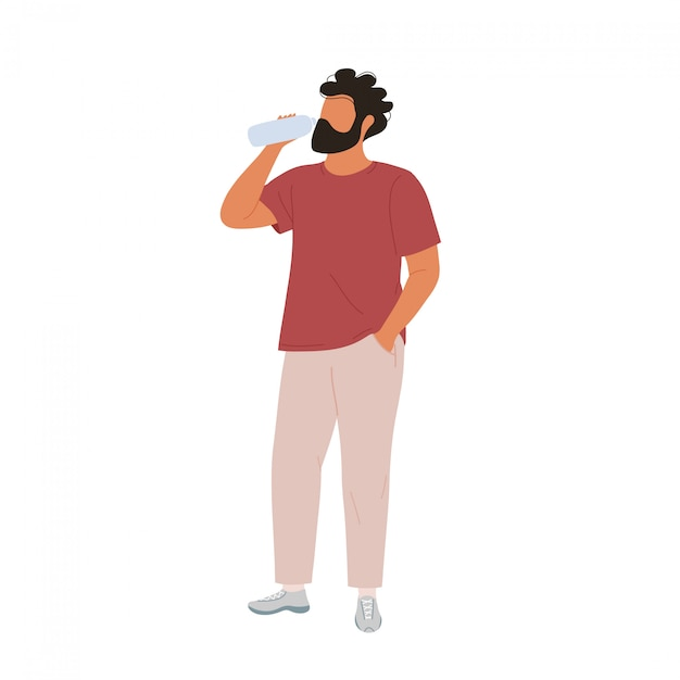 Молодой человек питьевой воды из бутылки. плоский современный модный стиль. Premium векторы