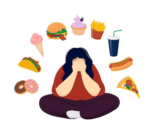 ファーストフードに囲まれたうつ病の太った女性 Premiumベクター