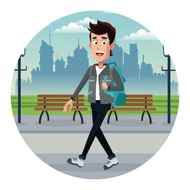 Молодой человек с рюкзаком парк городской Premium векторы