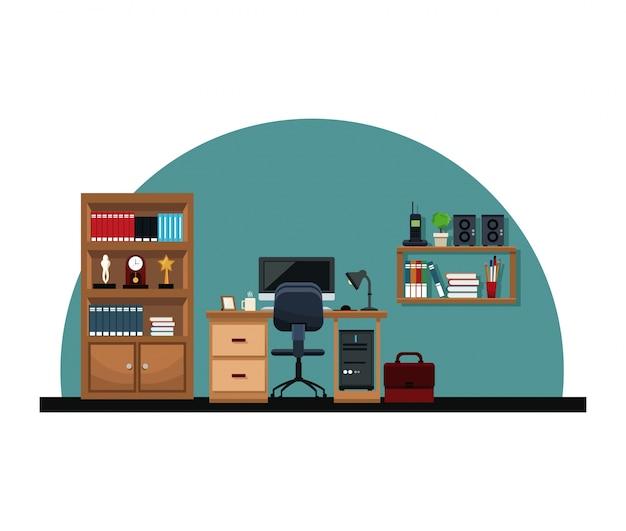 オフィスインテリアデスクチェアコンピュータブリーフケース本棚トロフィー時計電話 Premiumベクター