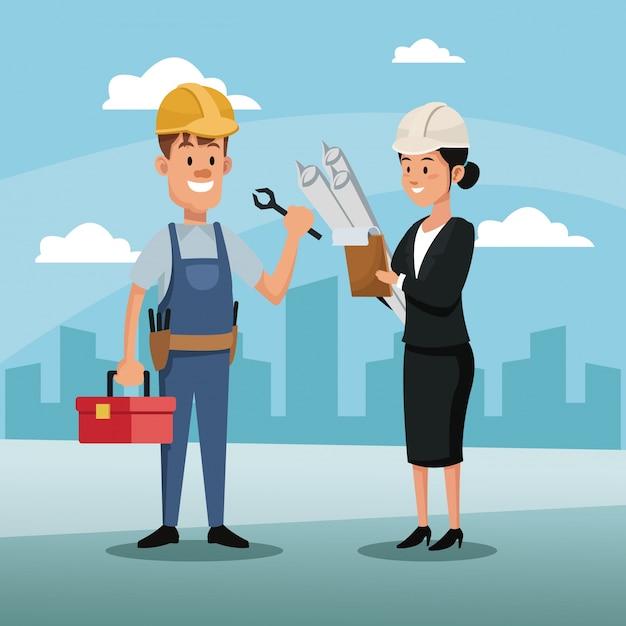 キャラクター女性マネジャー従業員建設建築都市労働日 Premiumベクター