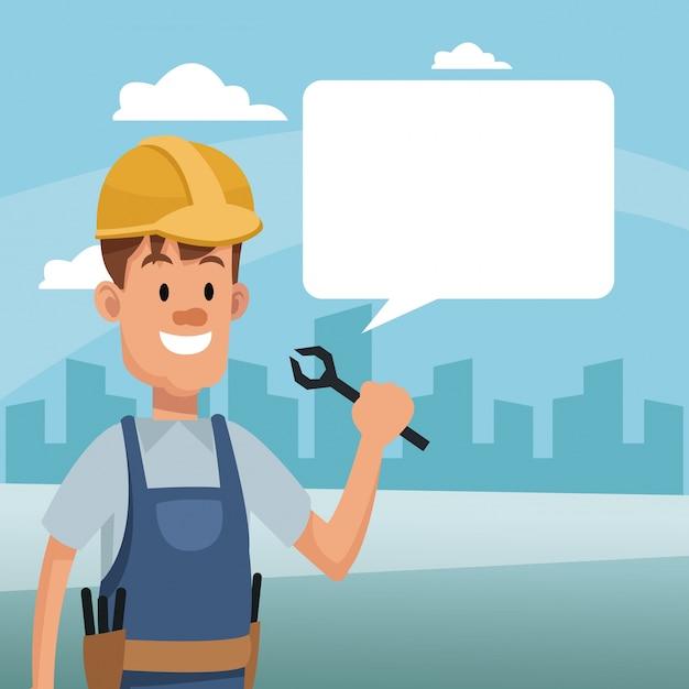 建設人、道具、バブル、スピーチ、労働者、日 Premiumベクター