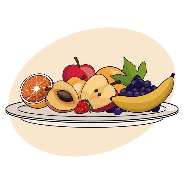 フルーツプレートの食品健康 Premiumベクター