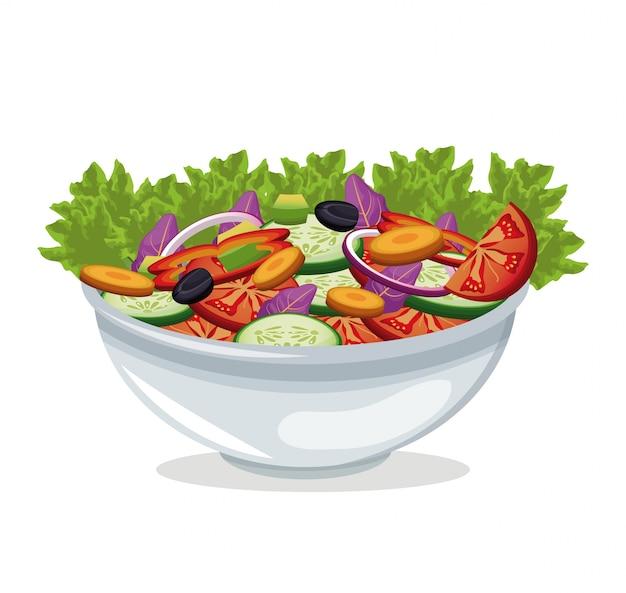 ボウルサラダ野菜収穫 Premiumベクター