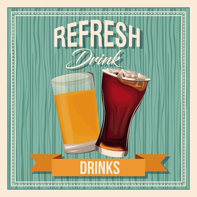 Обновить напитки пивной стакан соды жидкий старинный плакат Premium векторы