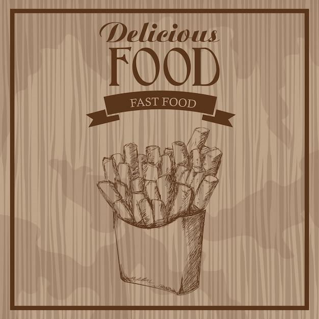 Вкусная еда. французский картофель фри. рисованный постер Premium векторы