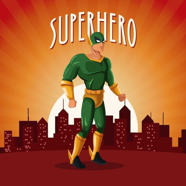 サンセットの都市の背景とスーパーヒーローコスチュームの立場 Premiumベクター