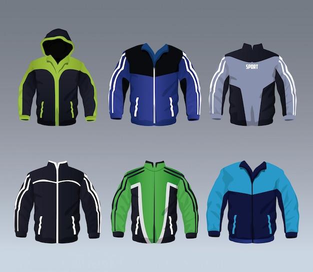 男性用スポーツウェアジャケットコレクションのセット Premiumベクター