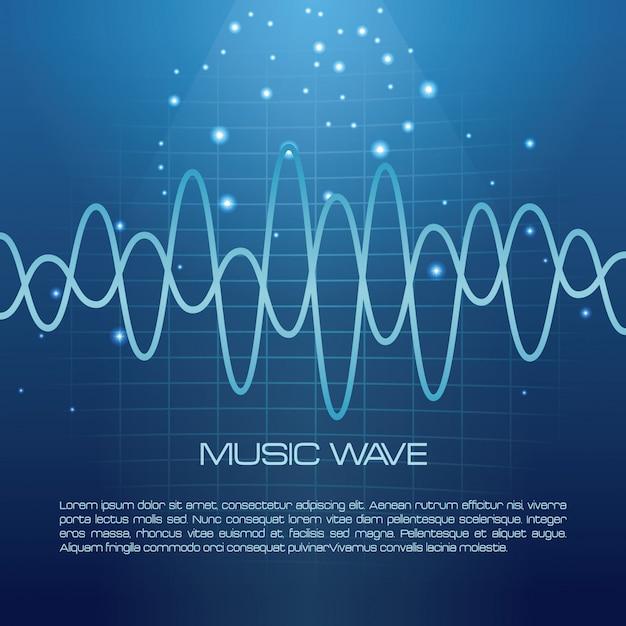 青い背景の音楽波のインフォメーション Premiumベクター