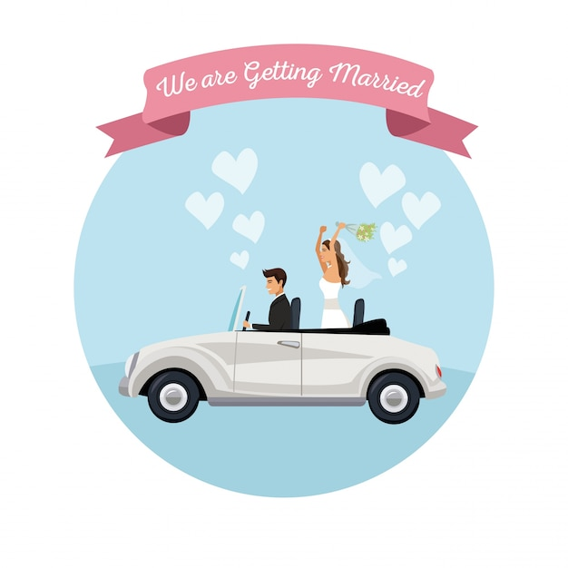 Белый фон жениха пара в автомобиле Premium векторы