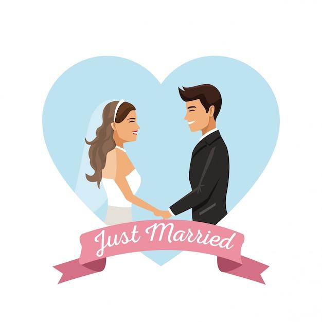 Белый фон пара, держась за руки только что женился Premium векторы