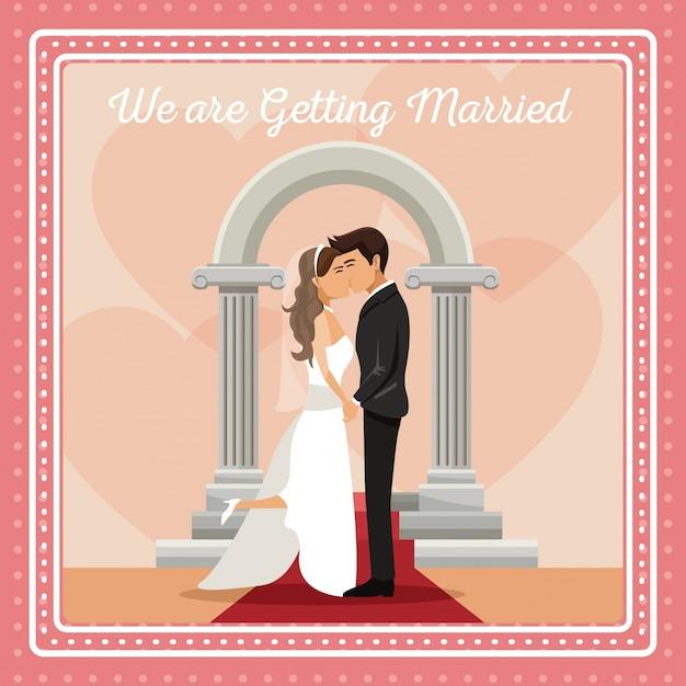 Красочная открытка с женихом и невестой целоваться Premium векторы