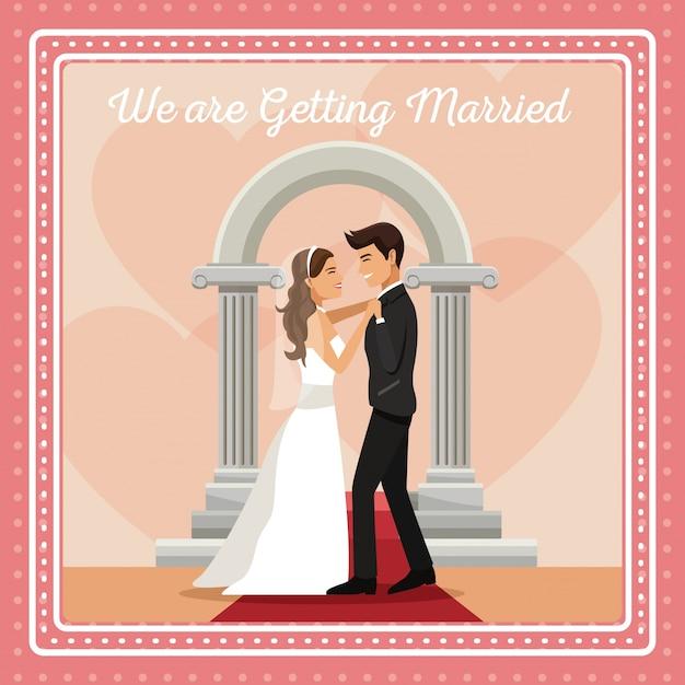 Красочная открытка с женихом и невестой Premium векторы