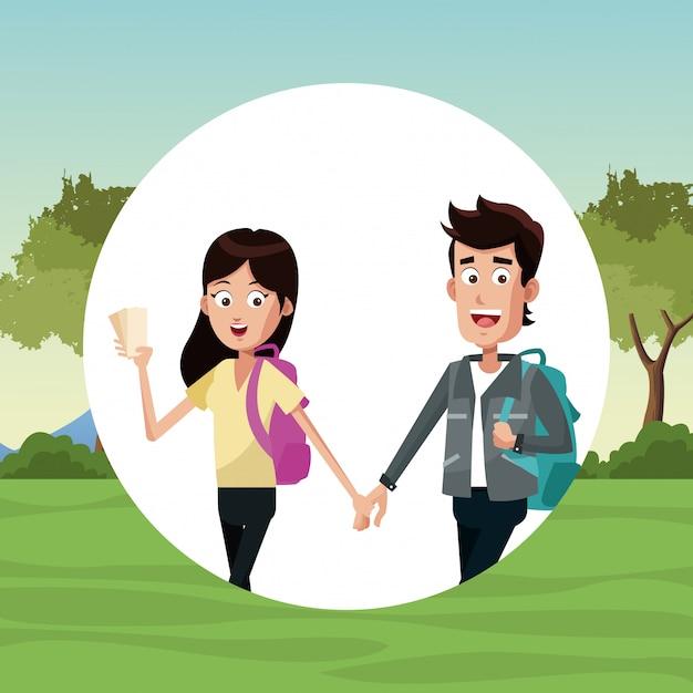 歩く若いカップル Premiumベクター