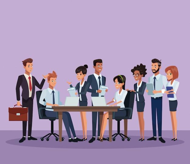 ビジネス同僚の漫画 Premiumベクター