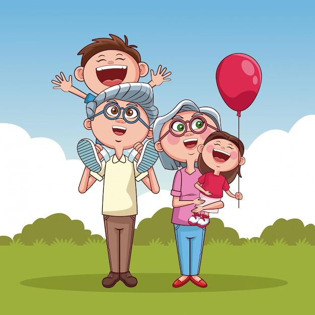 おじいちゃんと子供たち Premiumベクター