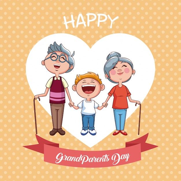 幸せな祖父母の日 Premiumベクター