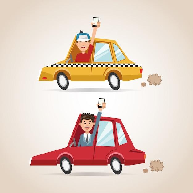 漫画の男性の車とスマートフォン Premiumベクター