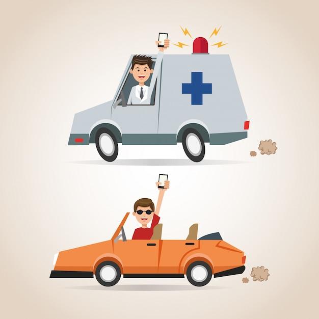 漫画の男スマートフォンの救急車と車 Premiumベクター