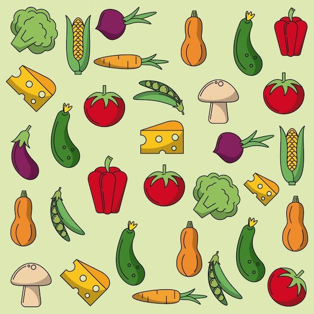 野菜のパターンとカラフルな背景 Premiumベクター