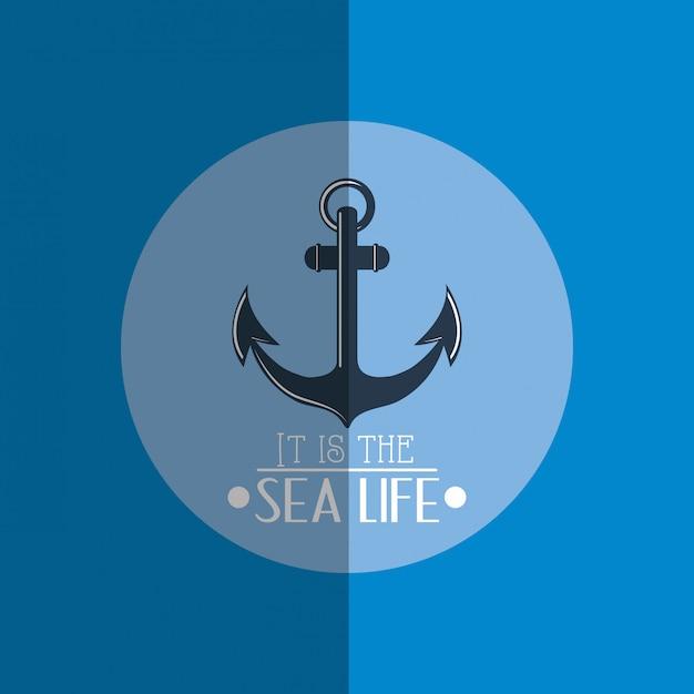 Значки морской морской жизни Premium векторы