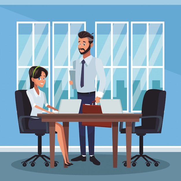 オフィスでのビジネス同僚 Premiumベクター