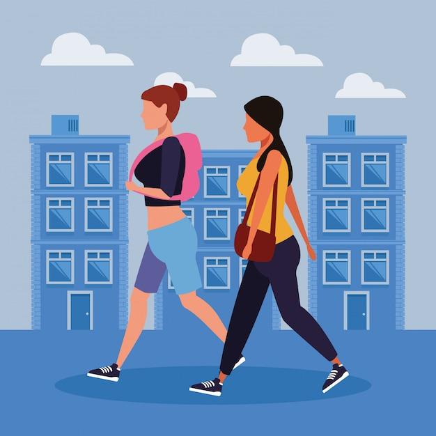 都市の女性 Premiumベクター