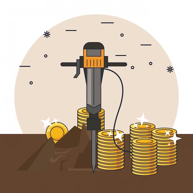鉱業と工具 Premiumベクター
