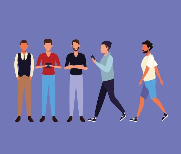 歩く人々のセット Premiumベクター