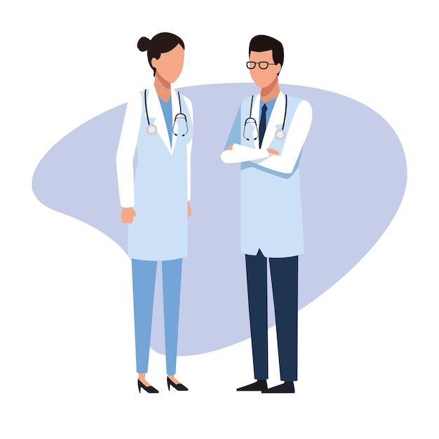 医師の医療チーム雇用と労働者 Premiumベクター