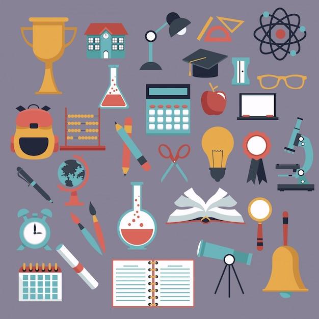 Цвет фона с установленными значками школьных элементов Premium векторы