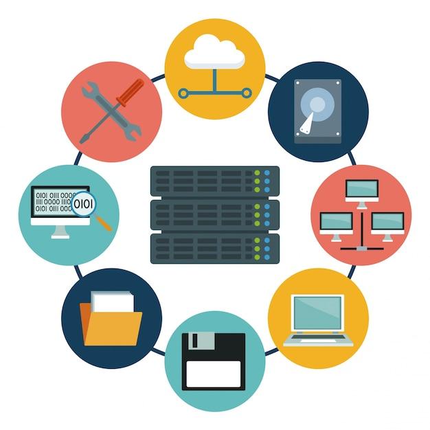 Серверный центр и элементы значков Premium векторы