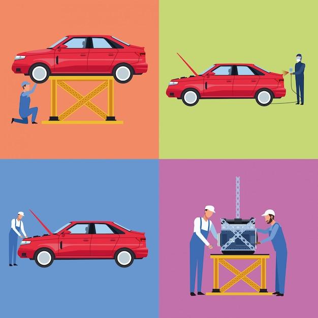 労働者の車工場のセット Premiumベクター