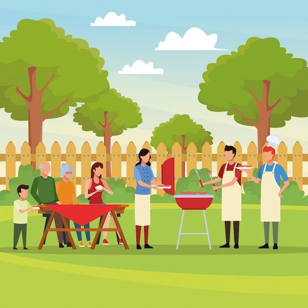 家族のバーベキューピクニック Premiumベクター
