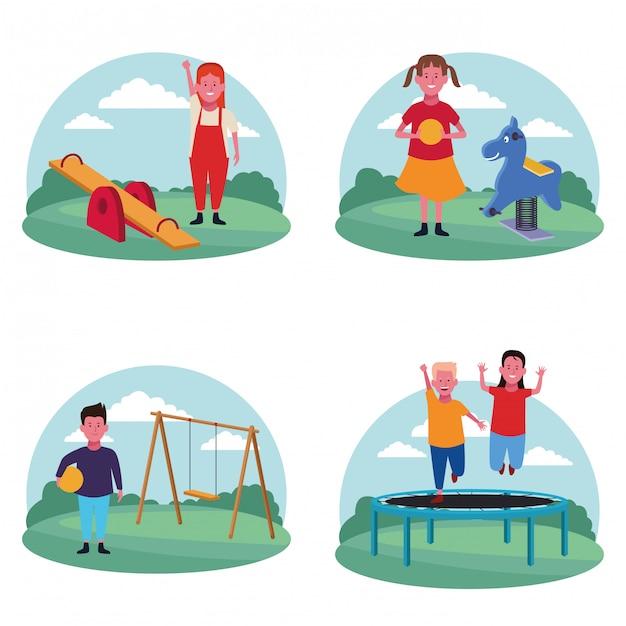 遊び場での子供たちのセット Premiumベクター